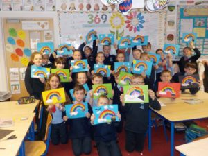 3rd Class using matchsticks to make some 3D shapes, and St Patrick's Day art!